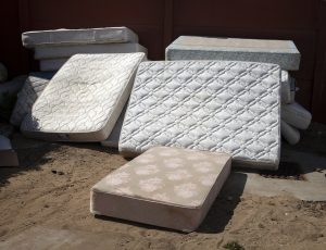 Pile of mattresses to be recycled
