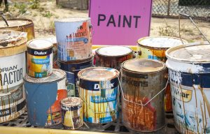 Collection of old paint tins
