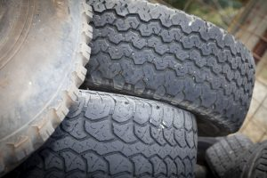 Close up of a pile of tyres