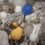 Pile of used light bulbs waiting to be recycled