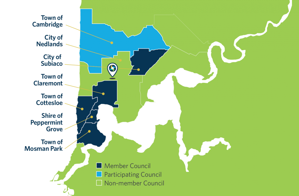The Western Metropolitan Regional Council provides waste and recycling services specifically to the Towns of Claremont, Cottesloe, Cambridge, Mosman Park, Shire of Peppermint Grove and City of Subiaco.